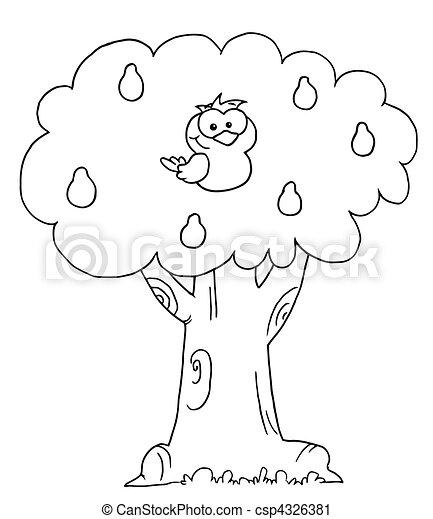 ナシ, 概説された, 木, ヤマウズラ - csp4326381