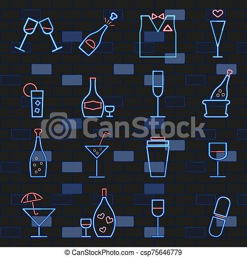 ネオンライト, card., セット, アルコール, signs., れんが, アイコン, 暗い, wall., 白熱, 飲み物 - csp75646779