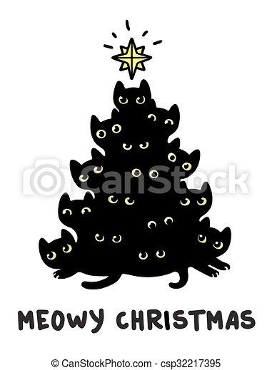 ネコ 木 クリスマス かわいい シルエット Illustration 面白い