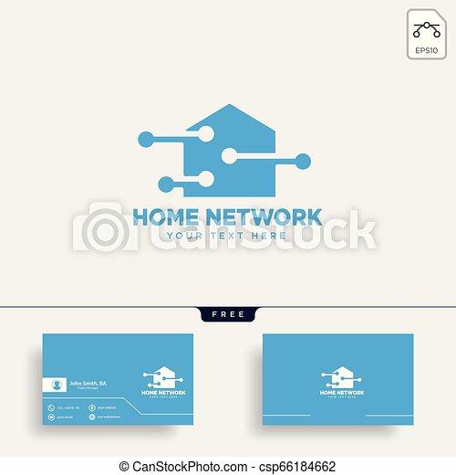 ネットワーク, イラスト, 接続, ベクトル, テンプレート, 家, ロゴ - csp66184662