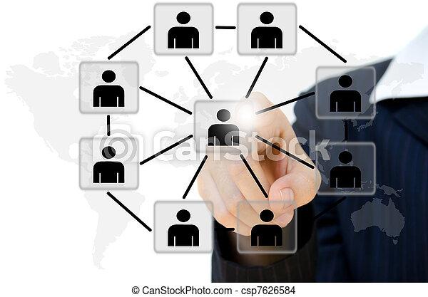 ネットワーク, ビジネス 人々, コミュニケーション, 押す, 若い, whiteboard., 社会 - csp7626584