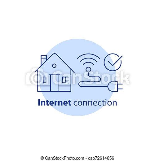 ネットワーク, 概念, ストローク, 家, ワイヤレス結線, ベクトル, サービス, インターネット, 家, wi - fi, 痛みなさい, アイコン - csp72614656