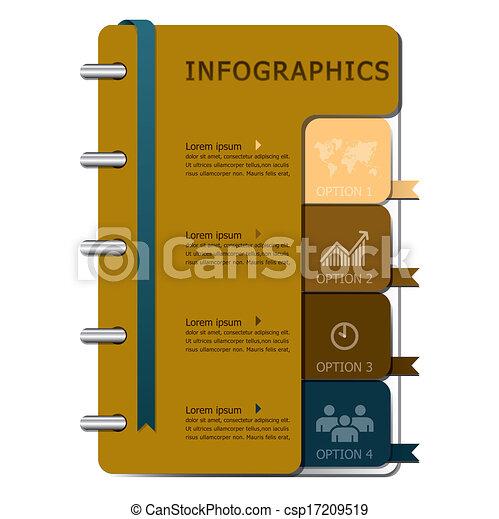 ノート, デザイン, テンプレート, infographics - csp17209519