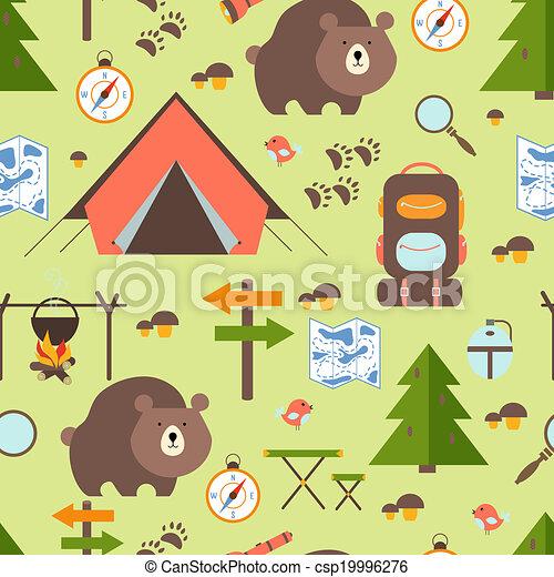 ハイキング, 森, seamless, パターン - csp19996276