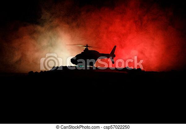 ハエ, 強くされた, シルエット, フィート数, 夜, zone., 焦点を合わせなさい。, 精選する, backlit., 霧が濃い, 準備ができた, ヘリコプター, 飾られる, 軍, 始める, 砂漠, 対立 - csp57022250