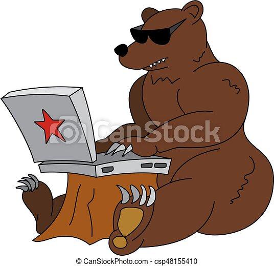 ハッカー ブラウン ユーモラスである 怒る イラスト 熊 ロシア