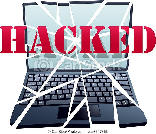 ハッカー, 衝突, 壊れる, 小片, コンピュータ保全, ラップトップ - csp3717358