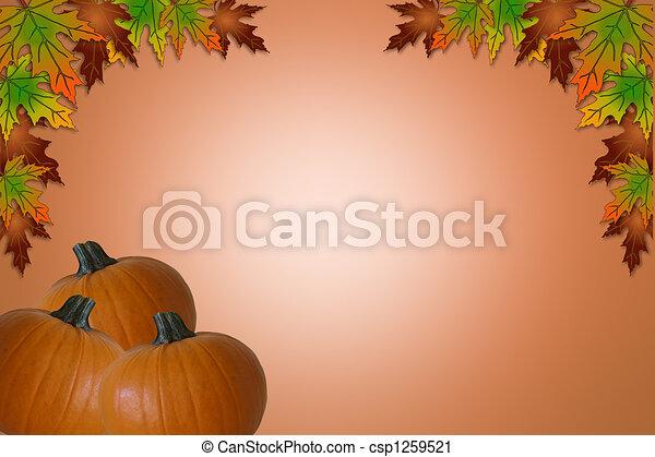 ハロウィーン, 感謝祭, カード, 秋 - csp1259521