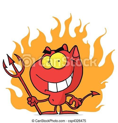 ハロウィーン, 赤, 火, 悪魔 - csp4326475