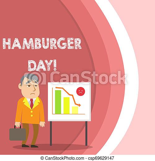 ハンバーガー, 写真, 抵抗できない, 地位, 報告書, 執筆, day., サンドイッチ, テキスト, 概念, 祝う, ビジネス, 提示, 手, ほとんど, 場合, バー, これ, whiteboard, chart., ビジネスマン, 歴史 - csp69629147