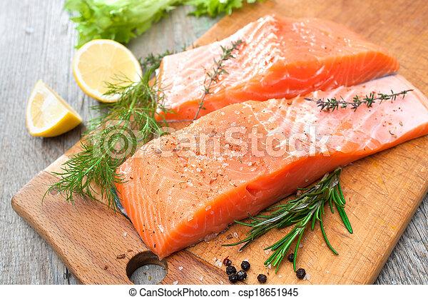 ハーブ, fish, 鮭, フィレ, 新たに - csp18651945