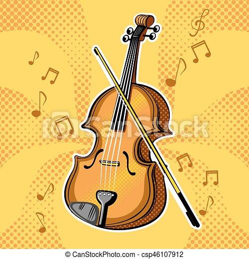 バイオリン, ベクトル, ミュージカル, イラスト, 道具 - csp46107912