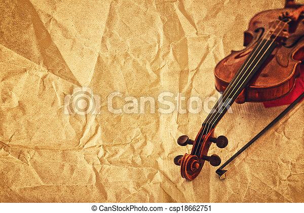 バイオリン, ペーパー, グランジ, 背景, クラシック - csp18662751