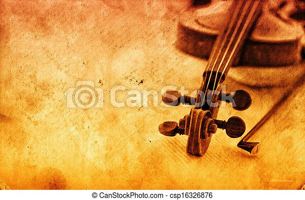 バイオリン, ペーパー, グランジ, 背景, クラシック - csp16326876