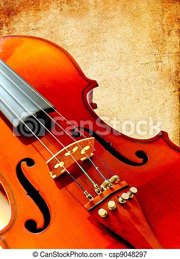 バイオリン, 部分, ペーパー, グランジ, スペース - csp9048297