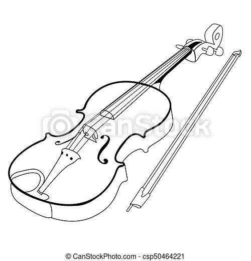 バイオリン, 隔離された, アウトライン - csp50464221