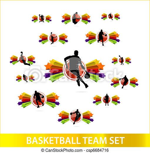 バスケットボール, セット, 有色人種, 星, チーム - csp6684716