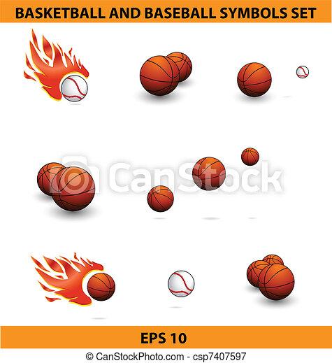 バスケットボール, 大きい, ボール, セット, 野球, スポーツ - csp7407597