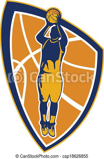バスケットボール, 打撃, 保護, ジャンプ, プレーヤー, ボール, レトロ - csp18626855