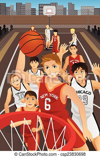 バスケットボール, 若者, 遊び - csp23830698
