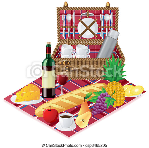 バスケット, テーブルウェア, ピクニック - csp8465205