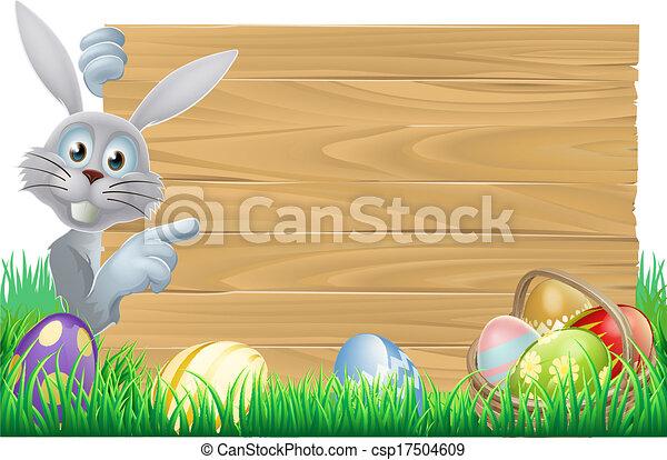 バスケット, 卵, イースターうさぎ, 印 - csp17504609