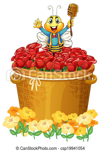 バスケット, 幸せ, 花, の上, 蜂 - csp19941054