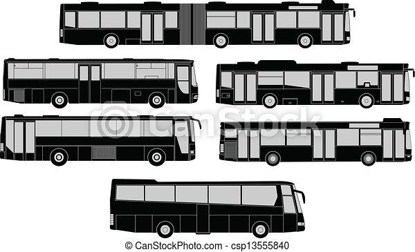 バス, シルエット, セット - csp13555840