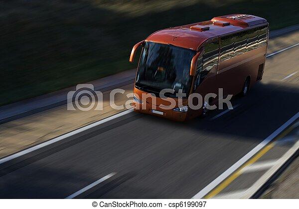 バス, スピード, 赤, ハイウェー - csp6199097