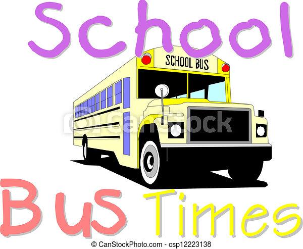 バス, 学校, 黄色 - csp12223138