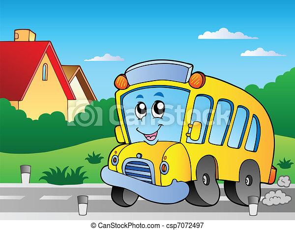 バス, 学校, 2, 道 - csp7072497