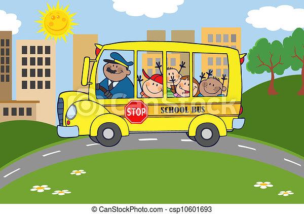 バス, 学童, 幸せ - csp10601693