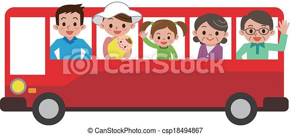 バス, 観光客, 家族, 幸せ - csp18494867