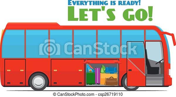 バス, 観光客, 手荷物 - csp26719110
