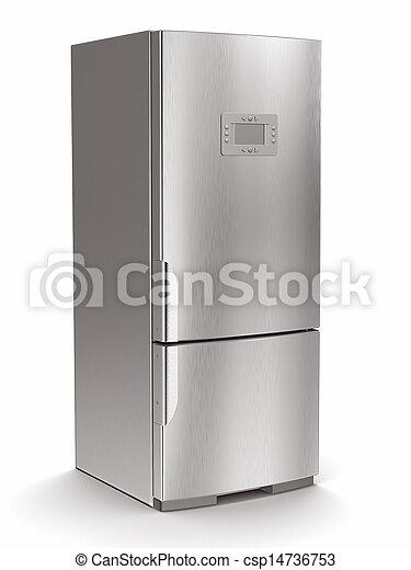 バックグラウンド。, 白, 隔離された, 冷蔵庫, 金属 - csp14736753
