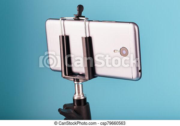 バックグラウンド。, photo-video, レコード, ビデオ, 三脚, blog., smartphone, 青, 写真, あなたの, カメラ - csp79660563