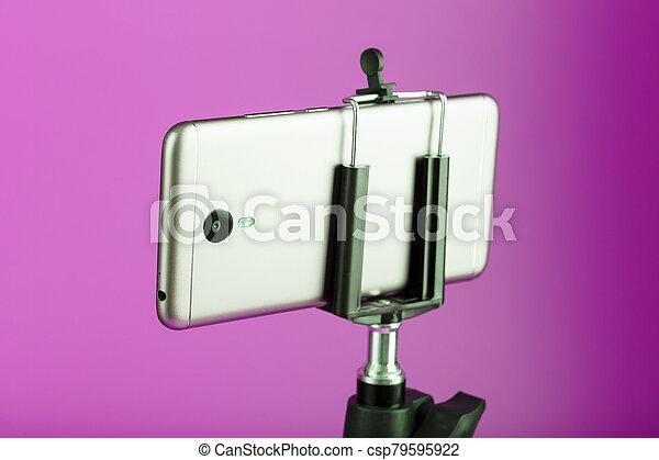 バックグラウンド。, photo-video, レコード, 三脚, ピンク, blog., smartphone, ビデオ, 写真, あなたの, カメラ - csp79595922