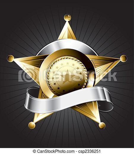 バッジ, デザイン, 保安官 - csp2336251