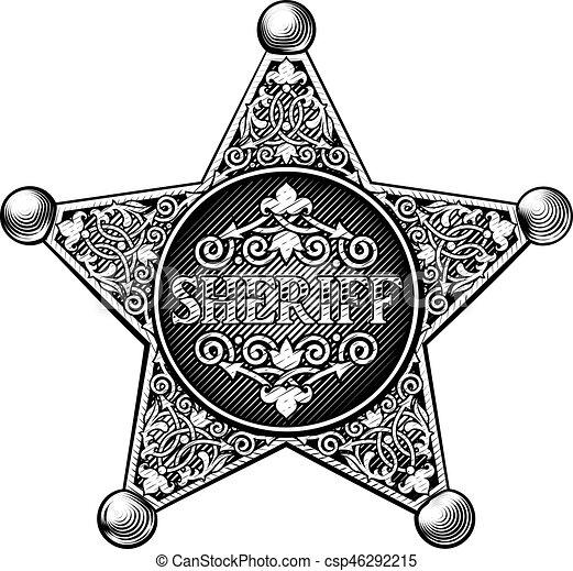 バッジ, 保安官 - csp46292215
