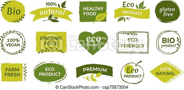 バッジ, vegan, 耕作される, ラベル, bio, ベクトル, 自然, eco, 有機体である, 健康, logo., 無料で, gluten, 食物, tags., プロダクト, ステッカー - csp75873504
