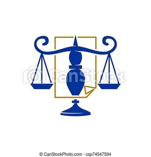 バランス, アイコン, スケール, 正義, ペーパー, ベクトル, デザイン, 会社, 法律, ロゴ - csp74547594