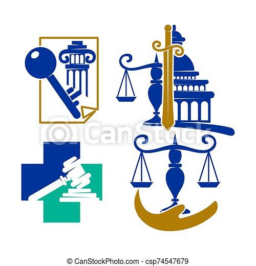 バランス, セット, アイコン, 正義, ベクトル, デザイン, 会社, 法律, ロゴ, 交差点 - csp74547679