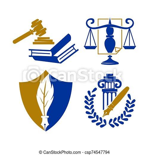 バランス, セット, 本, 正義, ベクトル, デザイン, 会社, 法律, ロゴ, 保護 - csp74547794