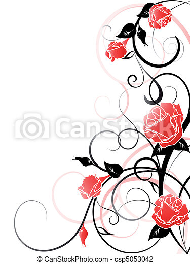 バラ, ベクトル, 背景 - csp5053042