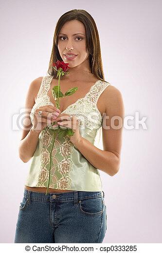バラ, 女性の保有物, 赤 - csp0333285