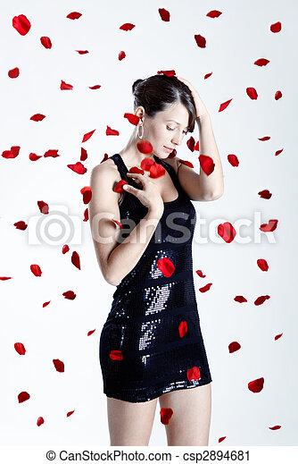 バラ, 女, 花弁 - csp2894681