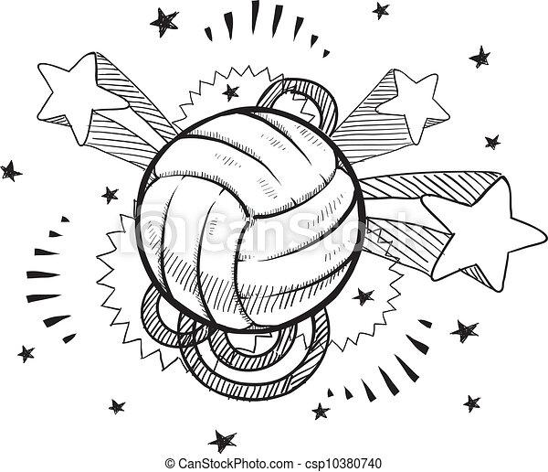 バレーボール, スケッチ, ポンとはじけなさい - csp10380740