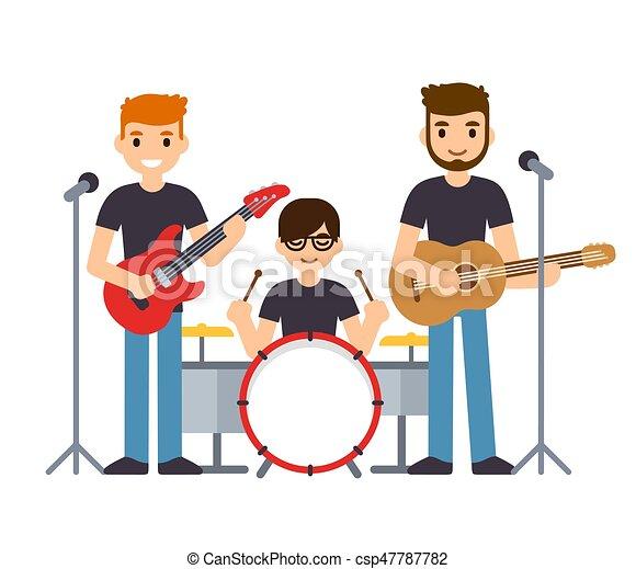 バンド, 音楽, イラスト. 平ら, ...