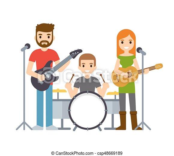 バンド 音楽 イラスト かわいい 女性 Indie 岩 ベクトル バンド 音楽家 歌手 Drummer マレ ギター 漫画 Illustration