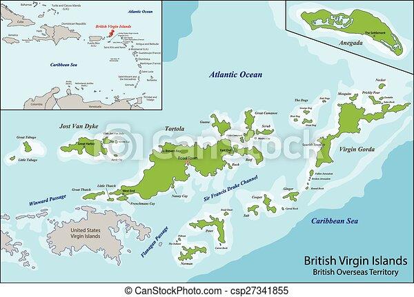 バージン諸島, イギリス, 地図. 領土, カリブ海, rico, 新しい, 一般に ...